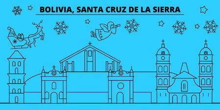 Bolivia, Santa Cruz de la Sierra winter holidays skyline. Merry Christmas, Happy New Year  with Santa Claus.Outline vector.Bolivia, Santa Cruz de la Sierra linear christmas city illustration Illustration