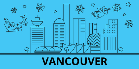 Canada, Vancouver winter holidays skyline. Merry Christmas, Happy New Year decorated banner with Santa Claus.Flat, outline vector.Canada, Vancouver linear christmas city illustration