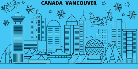 Canada, Vancouver city winter holidays skyline. Merry Christmas, Happy New Year decorated banner with Santa Claus.Flat, outline vector.Canada, Vancouver city linear christmas city illustration