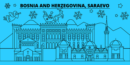 Bosnia and Herzegovina, Saraevo winter holidays skyline. Merry Christmas, Happy New Year  with Santa Claus.Outline vector.Bosnia and Herzegovina, Saraevo linear christmas city illustration Stock Illustratie