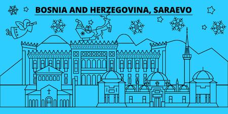Bosnia and Herzegovina, Saraevo winter holidays skyline. Merry Christmas, Happy New Year  with Santa Claus.Outline vector.Bosnia and Herzegovina, Saraevo linear christmas city illustration Illustration