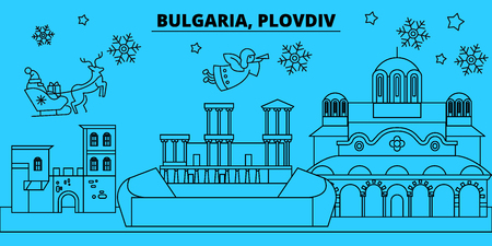 Bulgaria, Plovdiv winter holidays skyline. Merry Christmas, Happy New Year decorated banner with Santa Claus.Flat, outline vector.Bulgaria, Plovdiv linear christmas city illustration Illustration