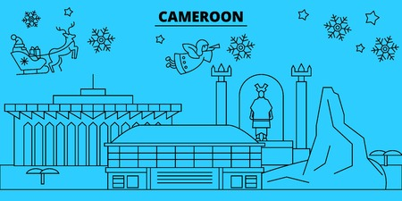 Cameroon, Cameroon winter holidays skyline. Merry Christmas, Happy New Year decorated banner with Santa Claus.Flat, outline vector.Cameroon, Cameroon linear christmas city illustration