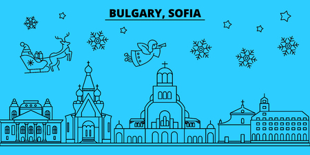 Bulgaria, Sofia winter holidays skyline. Merry Christmas, Happy New Year decorated banner with Santa Claus.Flat, outline vector.Bulgaria, Sofia linear christmas city illustration
