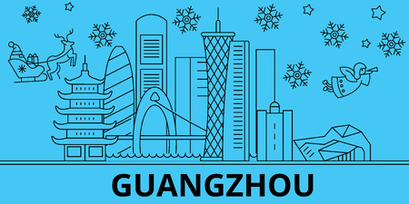 China, Guangzhou City  winter holidays skyline. Merry Christmas, Happy New Year decorated banner with Santa Claus.Flat, outline vector.China, Guangzhou City  linear christmas city illustration Illustration