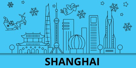 China, Shanghai winter holidays skyline. Merry Christmas, Happy New Year decorated banner with Santa Claus.Flat, outline vector.China, Shanghai linear christmas city illustration Illustration
