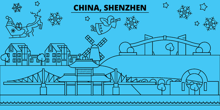 China, Shenzhen winter holidays skyline. Merry Christmas, Happy New Year decorated banner with Santa Claus.Flat, outline vector.China, Shenzhen linear christmas city illustration