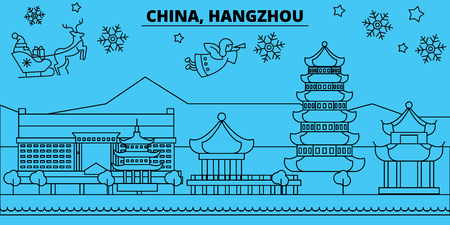 China, Hangzhou winter holidays skyline. Merry Christmas, Happy New Year decorated banner with Santa Claus.Flat, outline vector.China, Hangzhou linear christmas city illustration Illustration