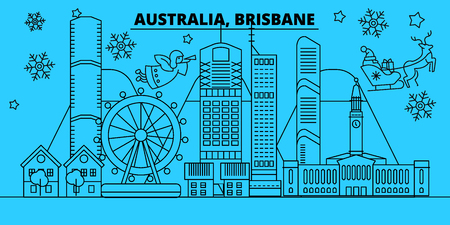 Australia, Brisbane winter holidays skyline. Merry Christmas, Happy New Year decorated banner with Santa Claus.Australia, Brisbane linear christmas city vector flat illustration