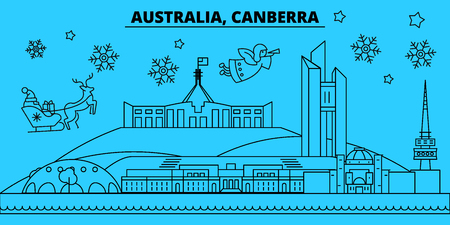 Australia, Canberra winter holidays skyline. Merry Christmas, Happy New Year decorated banner with Santa Claus.Australia, Canberra linear christmas city vector flat illustration