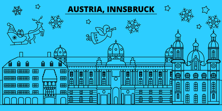 Austria, Innsbruck winter holidays skyline. Merry Christmas, Happy New Year decorated banner with Santa Claus.Austria, Innsbruck linear christmas city vector flat illustration  イラスト・ベクター素材
