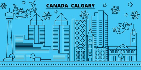 Canada, Calgary winter holidays skyline. Merry Christmas, Happy New Year decorated banner with Santa Claus.Flat, outline vector.Canada, Calgary linear christmas city illustration Illustration