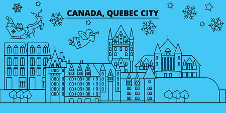 Canada, Quebec City winter holidays skyline. Merry Christmas, Happy New Year decorated banner with Santa Claus.Flat, outline vector.Canada, Quebec City linear christmas city illustration