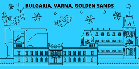 Bulgaria, Varna, Golden Sands winter holidays skyline. Merry Christmas, Happy New Year  with Santa Claus.Outline vector.Bulgaria, Varna, Golden Sands linear christmas city illustration