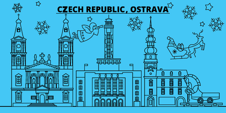 Czech Republic, Ostrava winter holidays skyline. Merry Christmas, Happy New Year decorated banner with Santa Claus.Flat, outline vector.Czech Republic, Ostrava linear christmas city illustration