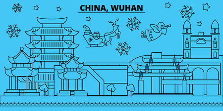 China, Wuhan winter holidays skyline. Merry Christmas, Happy New Year decorated banner with Santa Claus.Flat, outline vector.China, Wuhan linear christmas city illustration
