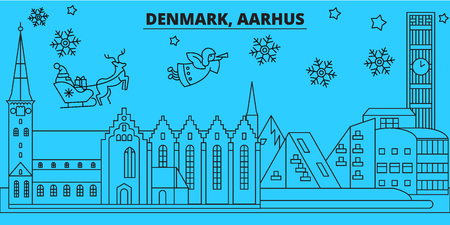 Denmark, Aarhus winter holidays skyline. Merry Christmas, Happy New Year decorated banner with Santa Claus.Flat, outline vector.Denmark, Aarhus linear christmas city illustration