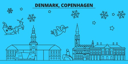 Denmark, Copenhagen winter holidays skyline. Merry Christmas, Happy New Year decorated banner with Santa Claus.Flat, outline vector.Denmark, Copenhagen linear christmas city illustration Ilustrace