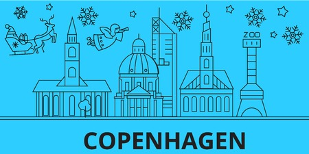 Denmark, Copenhagen city winter holidays skyline. Merry Christmas, Happy New Year decorated banner with Santa Claus.Flat, outline vector.Denmark, Copenhagen city linear christmas city illustration 版權商用圖片 - 127330093