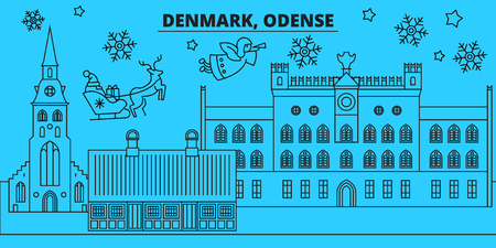Denmark, Odense winter holidays skyline. Merry Christmas, Happy New Year decorated banner with Santa Claus.Flat, outline vector.Denmark, Odense linear christmas city illustration
