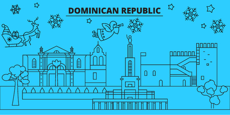 Dominican Republic winter holidays skyline. Merry Christmas, Happy New Year  with Santa Claus.Outline vector.Dominican Republic linear christmas city illustration 版權商用圖片 - 113439730