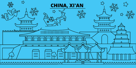 China, Xian winter holidays skyline. Merry Christmas, Happy New Year decorated banner with Santa Claus.Flat, outline vector.China, Xian linear christmas city illustration Illustration