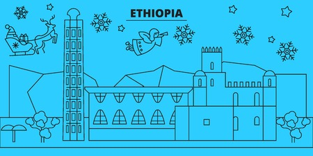 Ethiopia winter holidays skyline. Merry Christmas, Happy New Year decorated banner with Santa Claus.Flat, outline vector.Ethiopia linear christmas city illustration