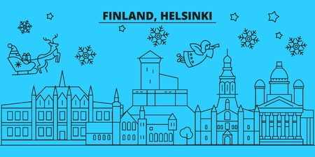 Finland, Helsinki winter holidays skyline. Merry Christmas, Happy New Year decorated banner with Santa Claus.Flat, outline vector.Finland, Helsinki linear christmas city illustration