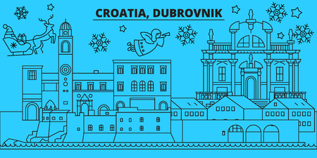 Croatia, Dubrovnik winter holidays skyline. Merry Christmas, Happy New Year decorated banner with Santa Claus.Flat, outline vector.Croatia, Dubrovnik linear christmas city illustration