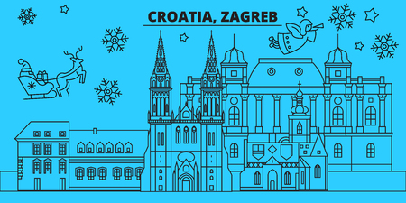 Croatia, Zagreb winter holidays skyline. Merry Christmas, Happy New Year decorated banner with Santa Claus.Croatia, Zagreb linear christmas city vector flat illustration