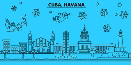 Cuba, Havana winter holidays skyline. Merry Christmas, Happy New Year decorated banner with Santa Claus.Flat, outline vector.Cuba, Havana linear christmas city illustration