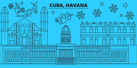Cuba, Havana city winter holidays skyline. Merry Christmas, Happy New Year decorated banner with Santa Claus.Flat, outline vector.Cuba, Havana city linear christmas city illustration Illusztráció