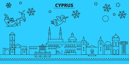 Cyprus winter holidays skyline. Merry Christmas, Happy New Year decorated banner with Santa Claus.Flat, outline vector.Cyprus linear christmas city illustration