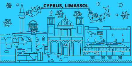 Cyprus, Limassol winter holidays skyline. Merry Christmas, Happy New Year decorated banner with Santa Claus.Flat, outline vector.Cyprus, Limassol linear christmas city illustration