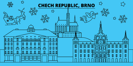 Czech Republic, Brno winter holidays skyline. Merry Christmas, Happy New Year decorated banner with Santa Claus.Flat, outline vector.Czech Republic, Brno linear christmas city illustration Stock Illustratie