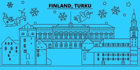 Finland, Turku winter holidays skyline. Merry Christmas, Happy New Year decorated banner with Santa Claus.Flat, outline vector.Finland, Turku linear christmas city illustration