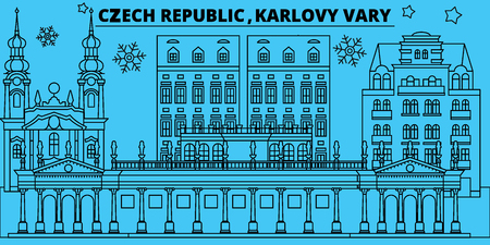 Czech Republic, Karlovy Vary winter holidays skyline. Merry Christmas, Happy New Year decorated banner with Santa Claus.Outline vector.Czech Republic, Karlovy Vary linear christmas city illustration