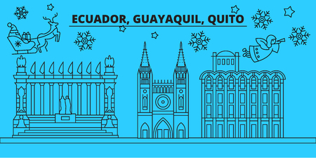 Ecuador, Guayaquil winter holidays skyline. Merry Christmas, Happy New Year decorated banner with Santa Claus.Flat, outline vector.Ecuador, Guayaquil linear christmas city illustration