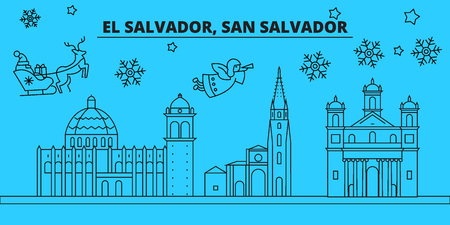 San Salvador winter holidays skyline. Merry Christmas, Happy New Year decorated banner with Santa Claus.Flat, outline vector.San Salvador linear christmas city illustration
