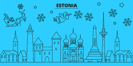 Estonia winter holidays skyline. Merry Christmas, Happy New Year decorated banner with Santa Claus.Flat, outline vector.Estonia linear christmas city illustration