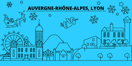 France, Lyon winter holidays skyline. Merry Christmas, Happy New Year decorated banner with Santa Claus.Flat, outline vector.France, Lyon linear christmas city illustration