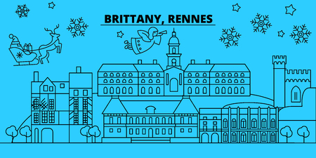 France, Rennes winter holidays skyline. Merry Christmas, Happy New Year decorated banner with Santa Claus.Flat, outline vector.France, Rennes linear christmas city illustration