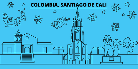 Colombia, Santiago de Cali winter holidays skyline. Merry Christmas, Happy New Year decorated banner with Santa Claus.Outline vector.Colombia, Santiago de Cali linear christmas city illustration Illustration