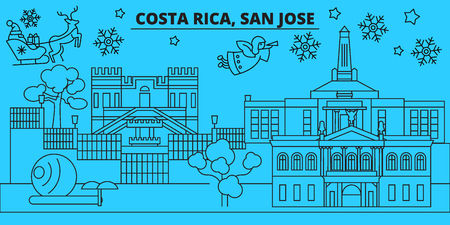 Costa Rica, San Jose winter holidays skyline. Merry Christmas, Happy New Year decorated banner with Santa Claus.Flat, outline vector.Costa Rica, San Jose linear christmas city illustration  イラスト・ベクター素材