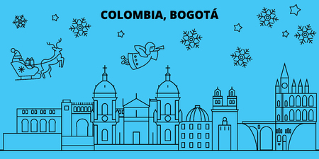 Colombia, Bogota winter holidays skyline. Merry Christmas, Happy New Year decorated banner with Santa Claus.Colombia, Bogota linear christmas city vector flat illustration