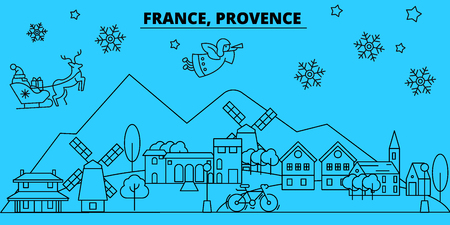 France, Provence winter holidays skyline. Merry Christmas, Happy New Year decorated banner with Santa Claus.Flat, outline vector.France, Provence linear christmas city illustration Ilustracja