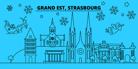 France, Strasbourg winter holidays skyline. Merry Christmas, Happy New Year decorated banner with Santa Claus.Flat, outline vector.France, Strasbourg linear christmas city illustration Illustration