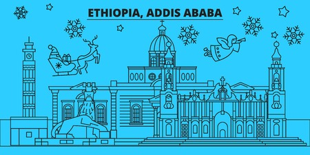 Ethiopia, Addis ababa winter holidays skyline. Merry Christmas, Happy New Year decorated banner with Santa Claus.Flat, outline vector.Ethiopia, Addis ababa linear christmas city illustration