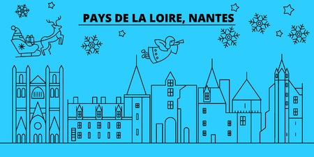 France, Nantes winter holidays skyline. Merry Christmas, Happy New Year decorated banner with Santa Claus.Flat, outline vector.France, Nantes linear christmas city illustration