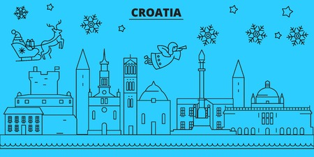Croatia winter holidays skyline. Merry Christmas, Happy New Year decorated banner with Santa Claus.Flat, outline vector.Croatia linear christmas city illustration